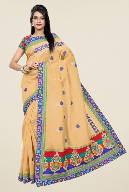 Triveni Dark Beige Embroidered Blended Cotton Saree