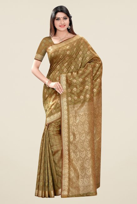 Triveni Brown Printed Art Silk Saree
