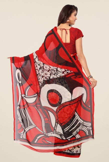 Triveni Red & Black Floral Print Faux Georgette Saree