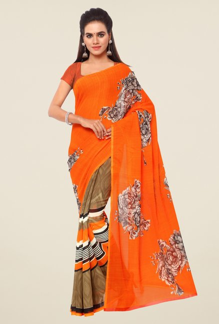 Triveni Orange Floral Print Faux Georgette Saree