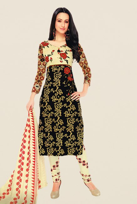 Salwar Studio Black & Beige Floral Print Dress Material
