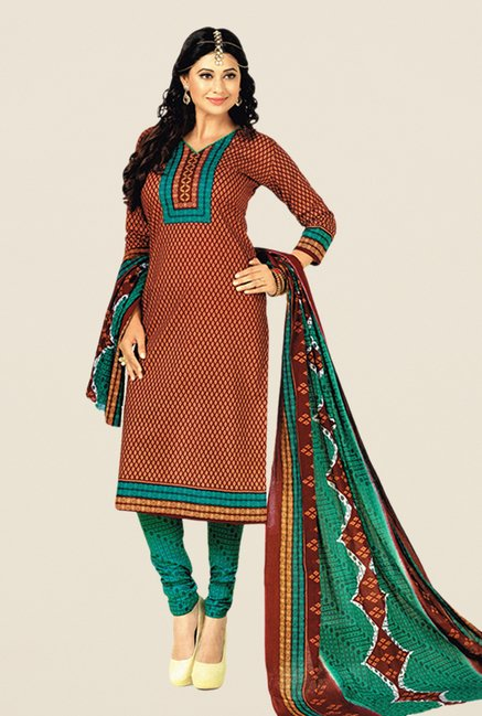 Salwar Studio Brown & Green Floral Print Dress Material