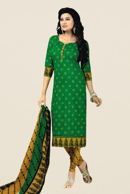 Salwar Studio Green & Mustard Floral Print Dress Material