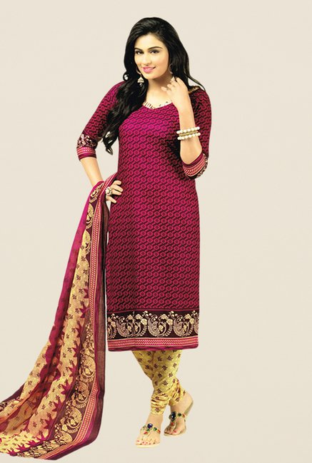 Salwar Studio Magenta & Beige Printed Dress Material
