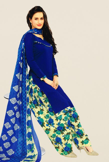 Salwar Studio Blue & Beige Solid Dress Material