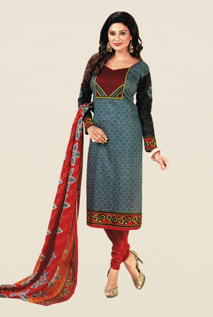 Salwar Studio Grey & Red Floral Print Dress Material