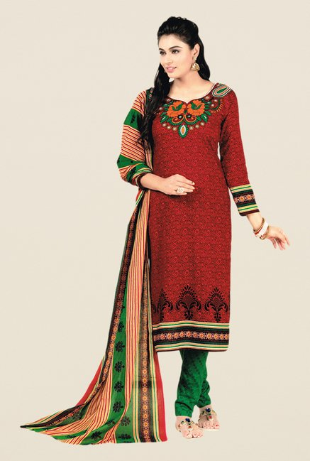 Salwar Studio Red & Green Floral Print Dress Material
