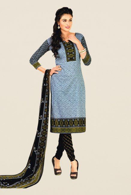 Salwar Studio Grey & Black Floral Print Dress Material