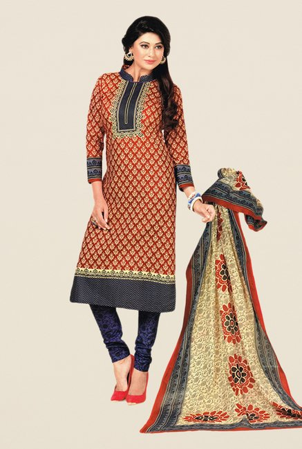 Salwar Studio Red & Violet Floral Print Dress Material