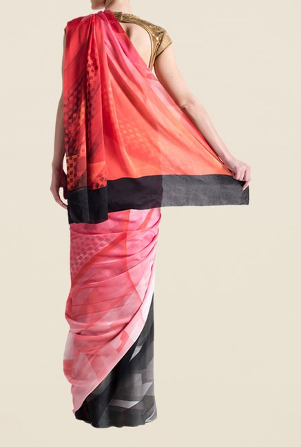Satya Paul Red Super Georgette Saree