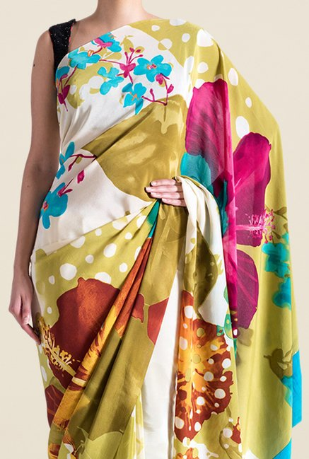 Satya Paul Olive & Off White Crepe Saree