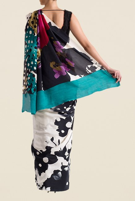 Satya Paul White Super Georgette Saree