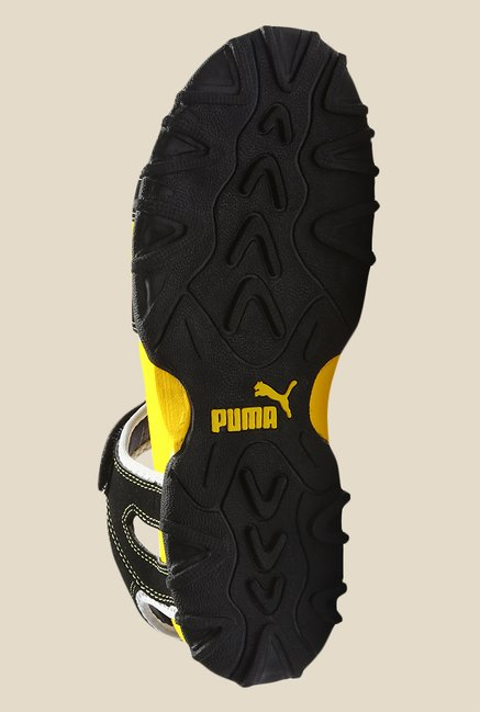 Puma TrackJrDP Black & Blazing Yellow Floater Sandals