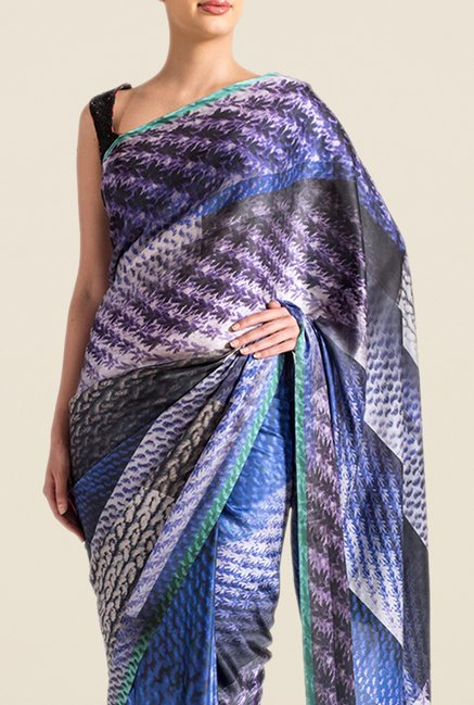 Satya Paul Blue & Purple Super Georgette Satin Saree