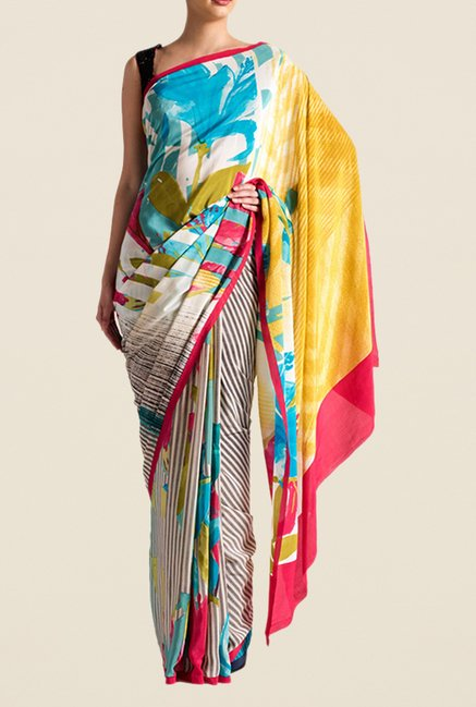 Satya Paul Multicolor Crepe Saree