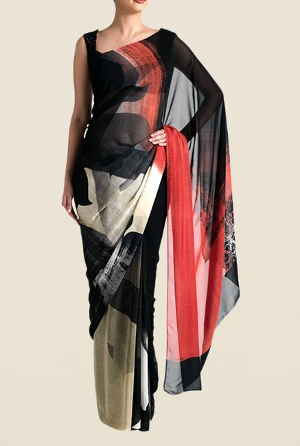 Satya Paul Black & Grey Georgette Saree