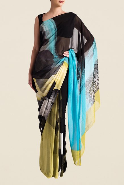Satya Paul Black & Blue Georgette Saree