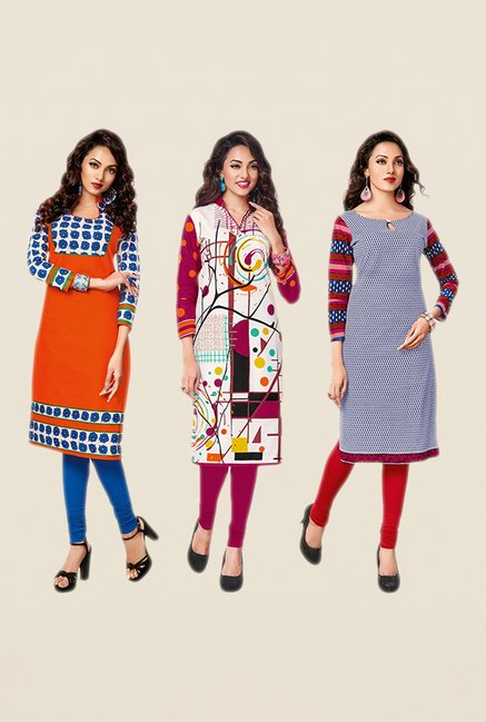 Salwar Studio Pink,Orange,Blue Unstitched Kurta (Pk Of 3)