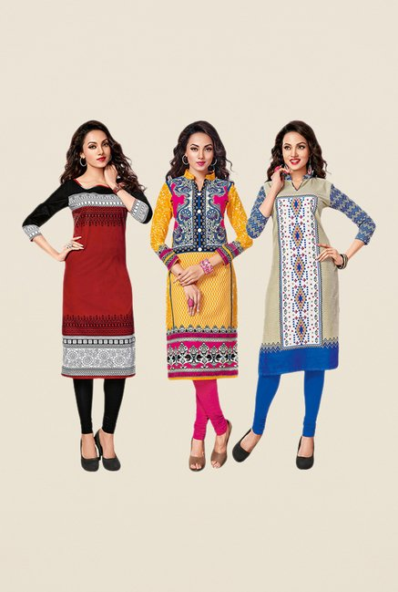 Salwar Studio Maroon,Yellow,Beige Unstitched Kurta (Pk Of 3)