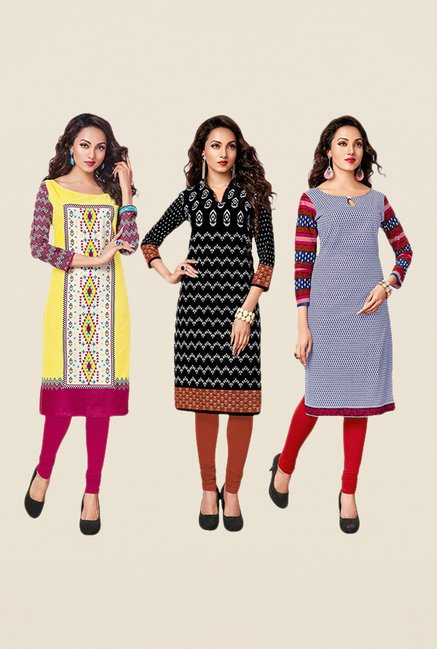 Salwar Studio Yellow,Black,Navy Unstitched Kurta (Pk Of 3)
