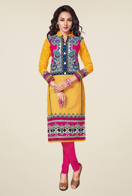 Salwar Studio Yellow,Black,Pink Unstitched Kurta (Pk Of 3)