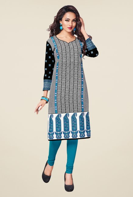 Salwar Studio Blue,Orange,Black Unstitched Kurta (Pk Of 3)