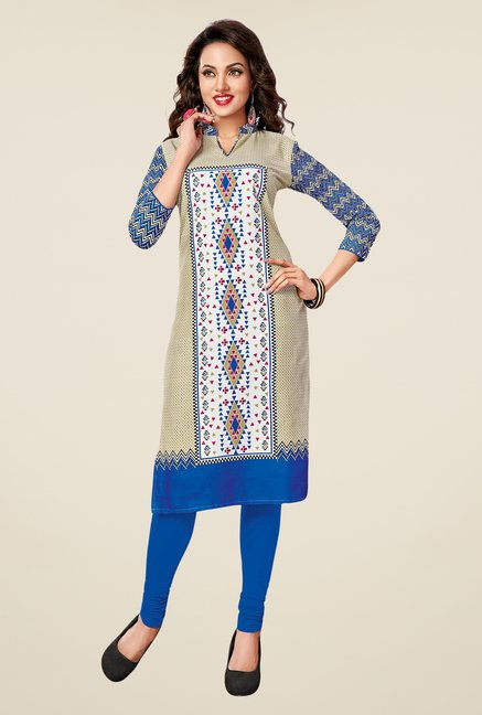 Salwar Studio Blue,Purple,Beige Unstitched Kurta (Pk Of 3)