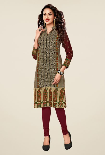 Salwar Studio Beige,Yellow,Maroon Unstitched Kurta (Pk Of 3)