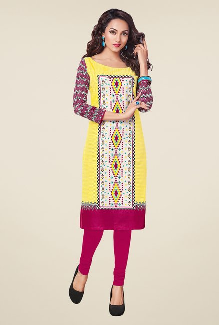 Salwar Studio Black,Yellow,Beige Unstitched Kurta (Pk Of 3)