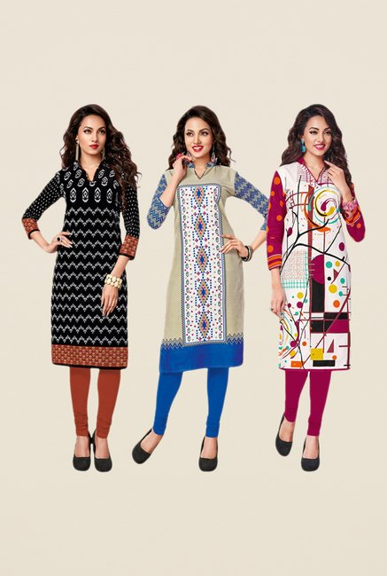 Salwar Studio Black,Beige,Pink Unstitched Kurta (Pk Of 3)