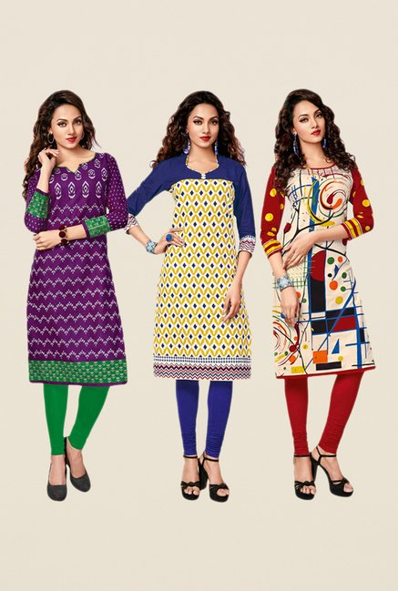 Salwar Studio Purple,Yellow,Red Unstitched Kurta (Pk Of 3)