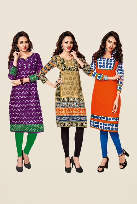 Salwar Studio Purple,Beige,Orange Unstitched Kurta (Pk Of 3)