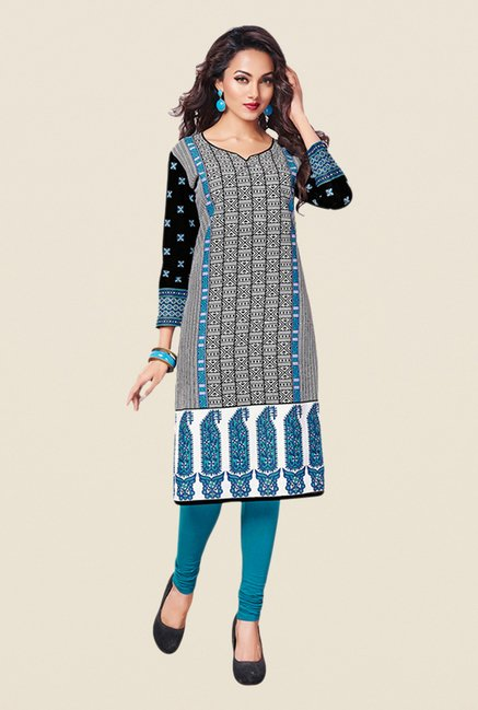 Salwar Studio Beige,Pink,Blue Unstitched Kurta (Pk Of 3)