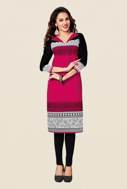 Salwar Studio Yellow,Pink,Red Unstitched Kurta (Pk Of 3)