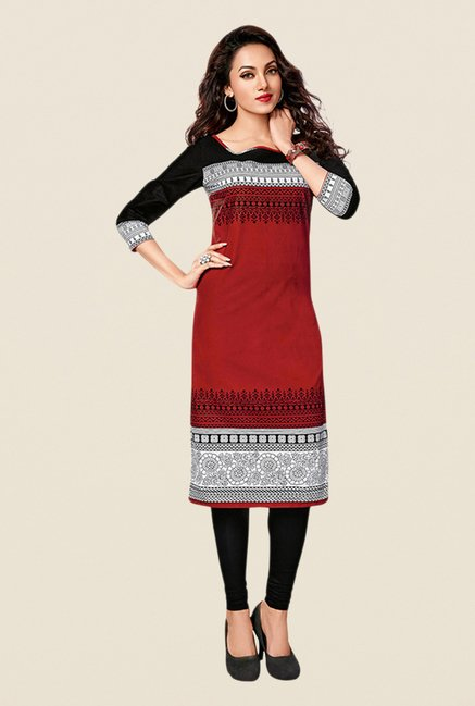 Salwar Studio Yellow,Maroon,Black Unstitched Kurta (Pk Of 3)