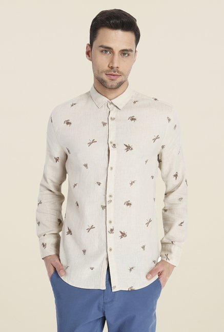 Jack & Jones Beige Linen Shirt