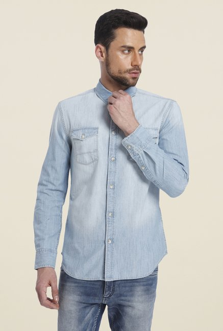 Jack & Jones Light Blue Solid Shirt