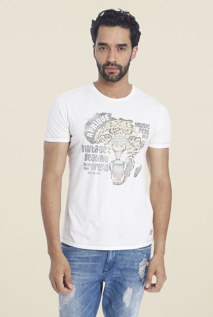Jack & Jones White Graphic Print Cotton T Shirt