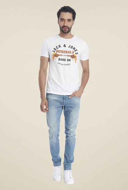 Jack & Jones White Graphic Print Crew T Shirt