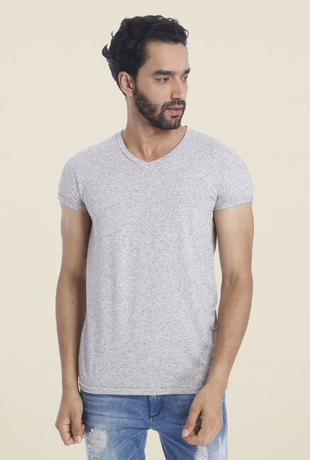 Jack & Jones Grey Solid T Shirt
