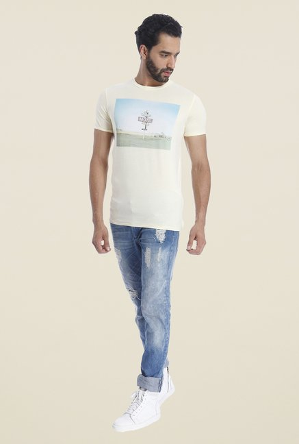 Jack & Jones Beige Graphic Print Crew T Shirt