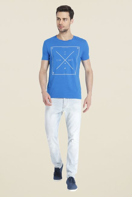Jack & Jones Blue Graphic Print Cotton T Shirt