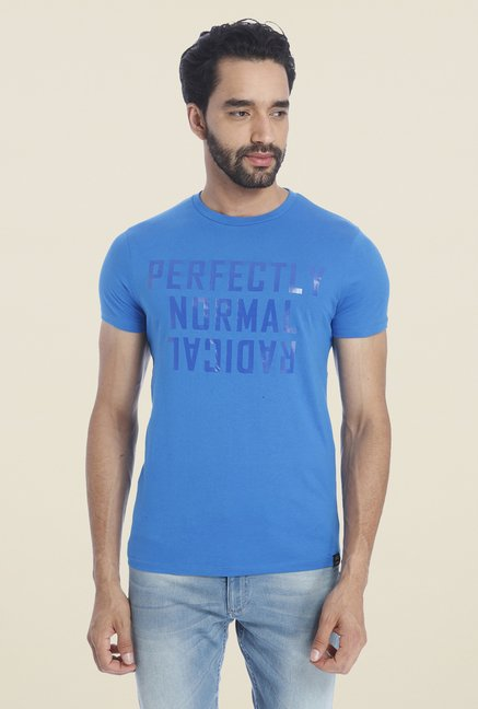 Jack & Jones Blue Graphic Print Cotton Short Sleeves T Shirt