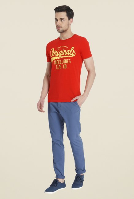 Jack & Jones Orange Graphic Print T Shirt