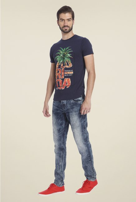 Jack & Jones Navy Graphic Print Short Sleeve T Shirt