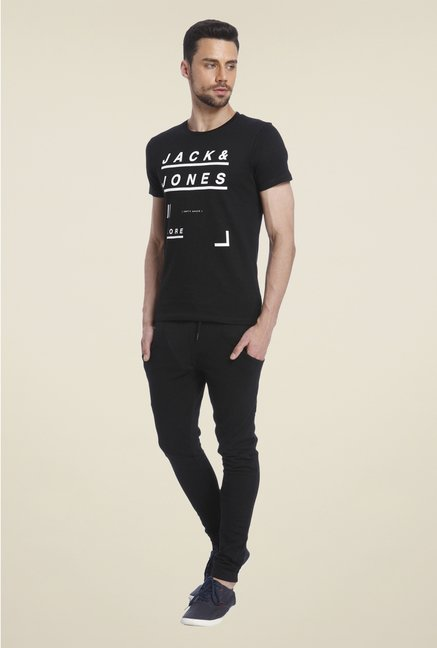 Jack & Jones Black Graphic Print Short Sleeves T Shirt