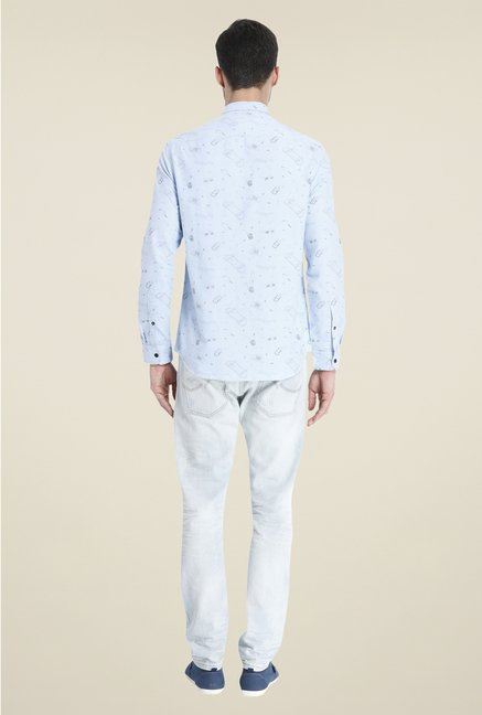 Jack & Jones Sky Blue Printed Shirt