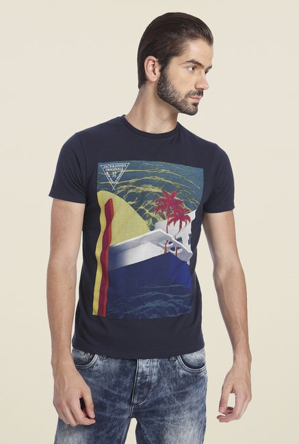 Jack & Jones Navy Graphic Print T Shirt