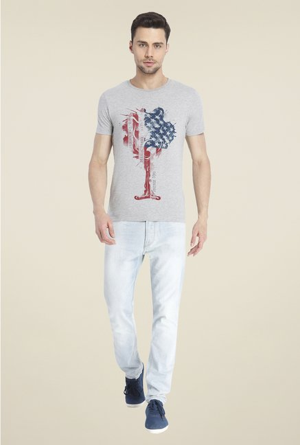 Jack & Jones Grey Graphic Print Cotton T Shirt