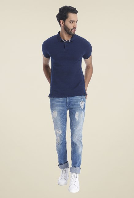 Jack & Jones Navy Solid T Shirt